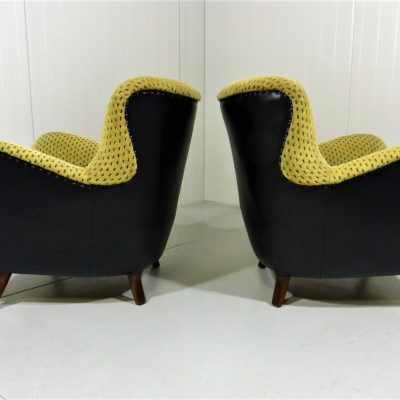 2 Fifties Lounge Chairs Black Yellow 9