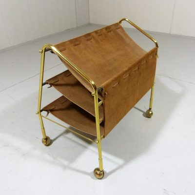 Brass Brown Suede Magazine Rack 2