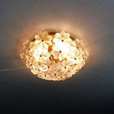Brass Glass Flower Ceiling Lamp 1