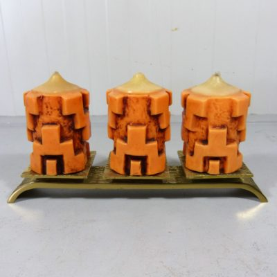 Bronze Candle Holder Orange Candles 2