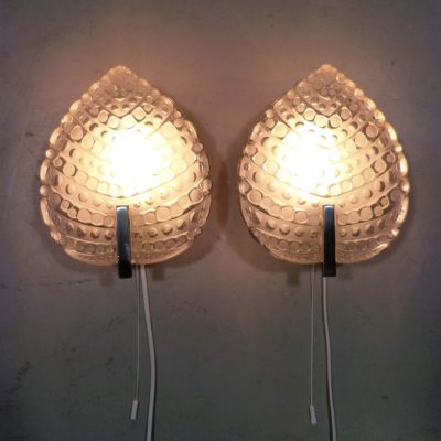 Kaiser Leuchten Glass Leaf Wall Lamps 1