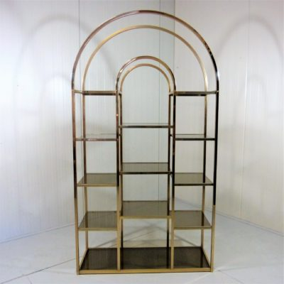 Large Brass and Smoked Glass Display 14