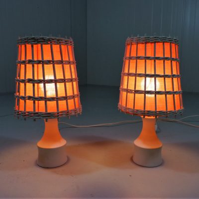 White Orange Bedside Lamps 1