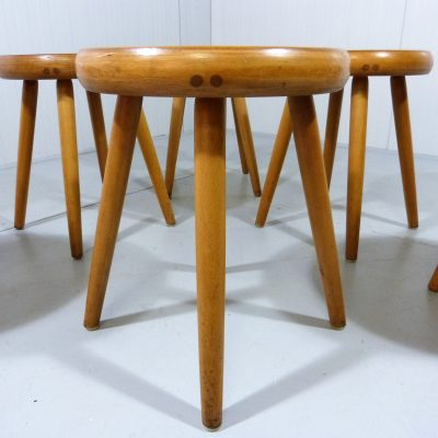 6 Blonde Wooden Stools 1