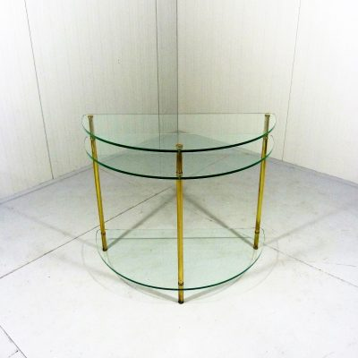 Glass Brass Side Table Half Round 1