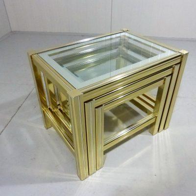 Italian Nesting Tables Brass Chrome 1