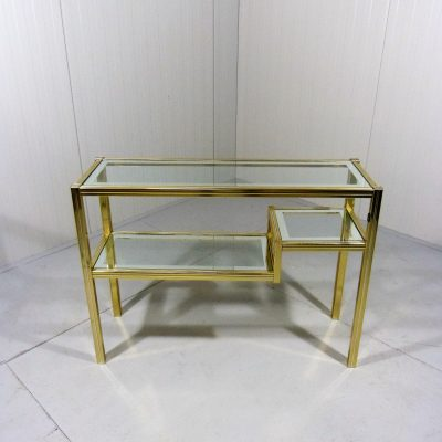 Italian Side table Brass Chrome 1