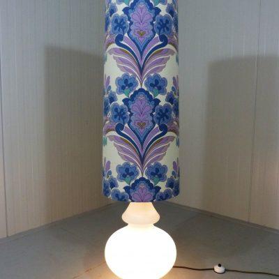 Large Floor Lamp Glass Blue Flowers 1