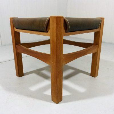 Saddle Leather Wood Stool 1