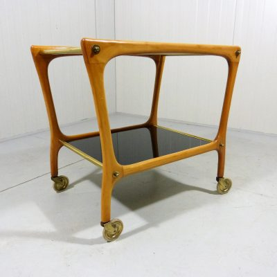 Serving Trolley Black White Glass Wood 1